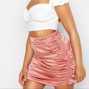 Pink Ruched Mini Satin Skirt Small